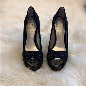 Guess Patches Black Open Toe Heels
